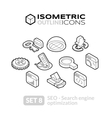 Isometric outline icons set 8 vector image