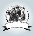 Vintage label with head bear vector image