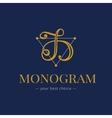 elegant hand lettered D letter monogram vector image