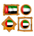Flag icon design for arab emirates in different vector image