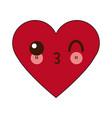 kawaii heart healthy love feeling cartoon vector image