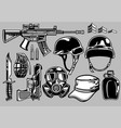 military objects set vector image