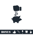 Piggy bank and hand with coin icon flat vector image