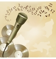 Retro microphone on music background vector image