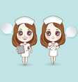 cartoon nurse in white dress cute have a smile vector image