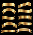 big golden ribbons set vector image