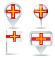 Map pins with flag of Guernsey vector image