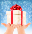 Holiday christmas background with hands holding vector image