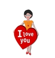GIRL WITH I LOVE YOU HEART STICKER vector image