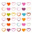 Grunge Heart Symbols Set Isolated on White vector image