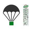 Parachute Icon With Bonus vector image