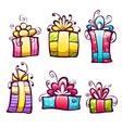 Set of brightly gift cartoon box vector image