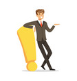 smiling businessman standing and leaning against a vector image