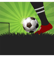 Soccer or football player with ball on field vector image