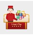 Bellboy and hotel digital apps design vector image