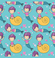 pattern with cute little mermaid siren sea theme vector image