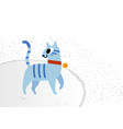 cute cat wearing a red collar with gold tag on a vector image
