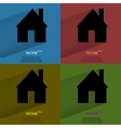 Color set Home Flat modern web button with long vector image
