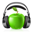apple with headphones vector image