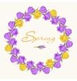 crocus wreath 2 purple yellow vector image