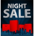Night sale with shopping bag in city vector image