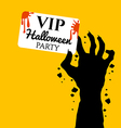 Zombie hand holding invite VIP card for halloween vector image