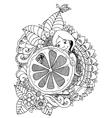 girl holding lemon in the vector image