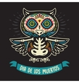 Greeting card with owl skeletons and floral vector image