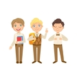 Boys In Brown Outfits Happy Schoolkids In Similar vector image