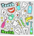 Funny Teeth and Dentistry Elements Stickers vector image
