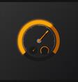 orange speedometer on carbon background vector image