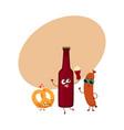 happy beer bottle salty pretzel frankfurter vector image vector image