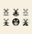 windmill mill logo or label flour bakery icons vector image
