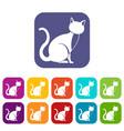 black cat icons set vector image