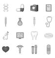 Medicine icons set black monochrome style vector image