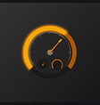 orange speedometer on carbon background vector image