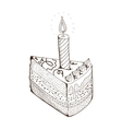 Piece of holiday cake with candle vector image