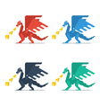 Set of dragons with fire vector image