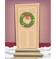 Vintage Christmas Door Wreath with Bow and Baubles vector image vector image