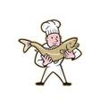 Chef Cook Handling Salmon Fish Standing vector image vector image
