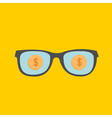 Glasses and gold dollar coin inside Flat design st vector image