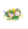 vegetables with grunge vector image