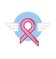 blue ribbon breast cancer wing vector image