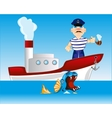 Captain on steamship vector image