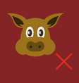 flat icon of pig in graphic style hand drawing vector image