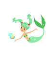 green-haired mermaid girl and vector image