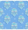 sea seamless pattern with funny jellyfish vector image