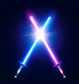 two crossed light neon swords laser sabers war vector image