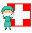 A doctor in front of the Switzerland flag vector image