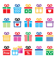 Present gift box colorful icons set vector image vector image